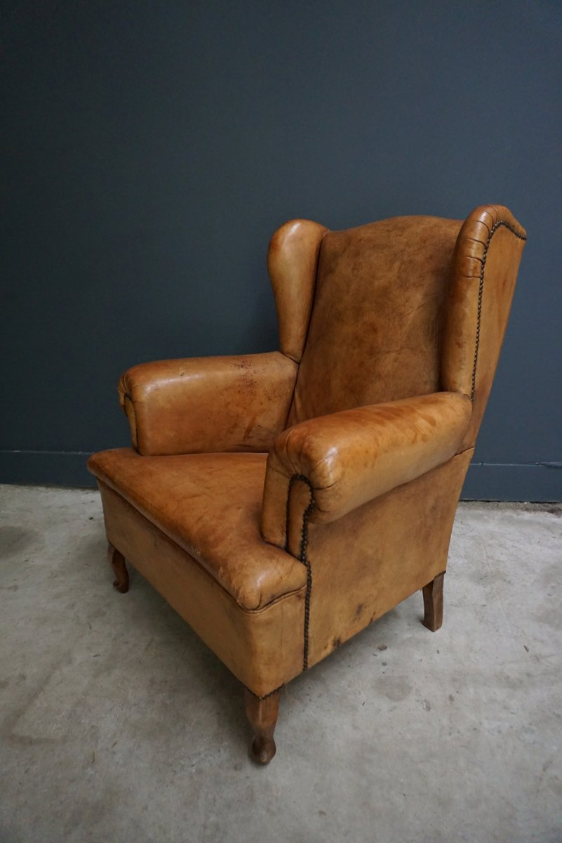 Dutch Vintage Cognac Colored Leather Club Chair For Sale