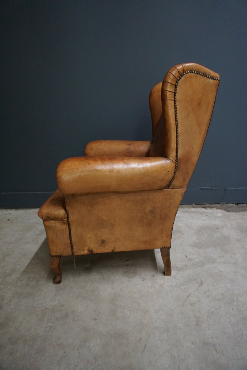 dutch vintage cognac colored leather club chair for sale at pamono. Black Bedroom Furniture Sets. Home Design Ideas