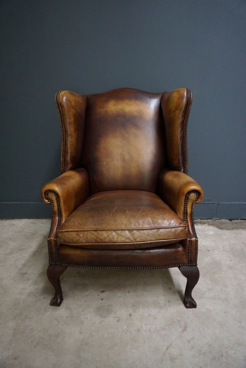 Dutch Vintage Cognac Colored Leather Club Chair For Sale
