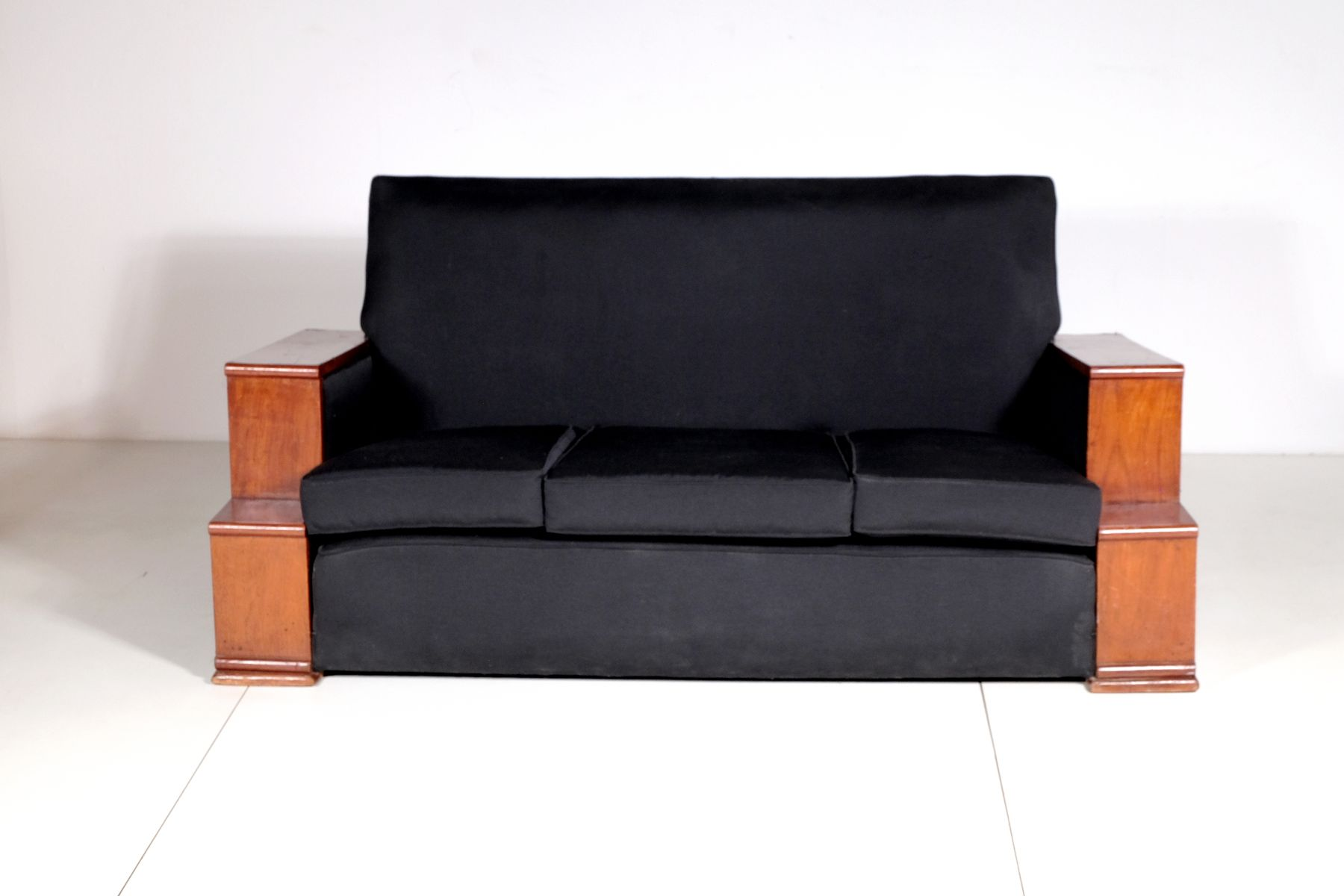Vintage Art Deco Rosewood And Black Cotton Sofa 1930s