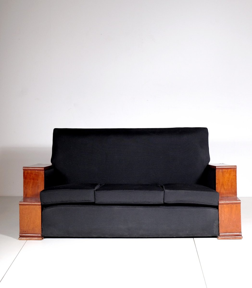 Vintage Art Deco Rosewood And Black Cotton Sofa 1930s