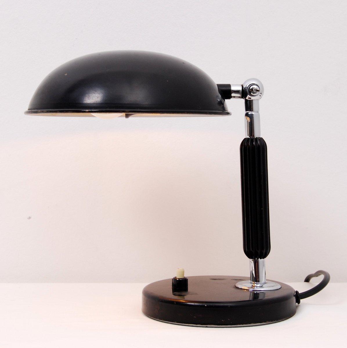 Schwarz Lackierte Vintage Schreibtischlampe aus Chrom