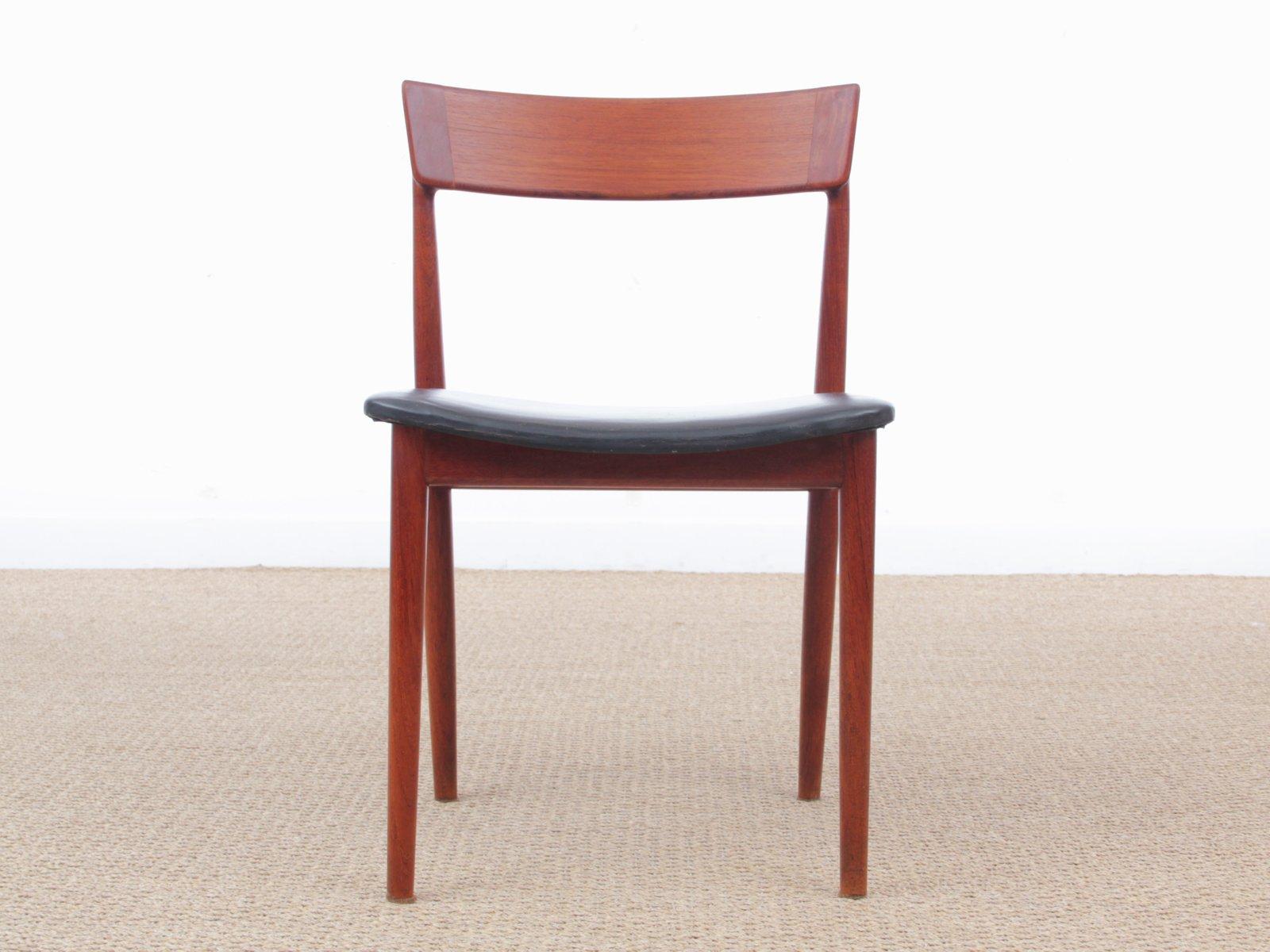chaises vintage scandinaves en teck par henry rosengren hansen pour brande mbelindustri set de 5 - Chaise Vintage Scandinave