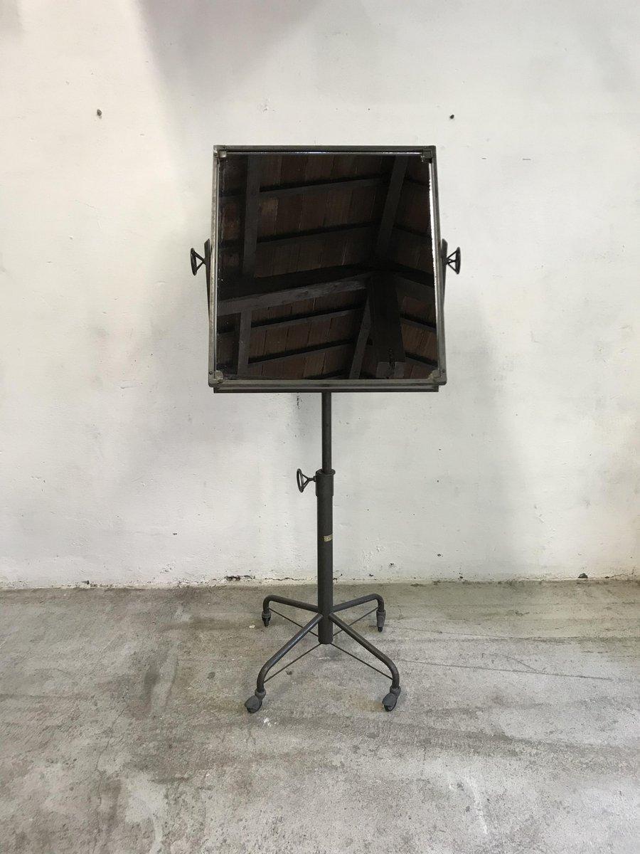 Anpassbarer Italienischer Spiegel auf Rädern im Industriellen Stil, 19...