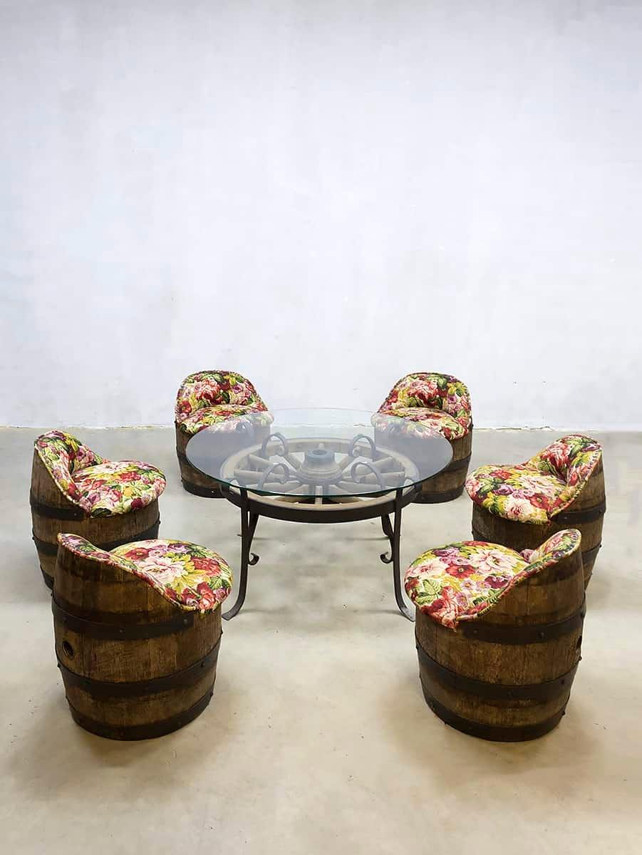Set de Table et Chaises de Jardin Tonneau Vintage