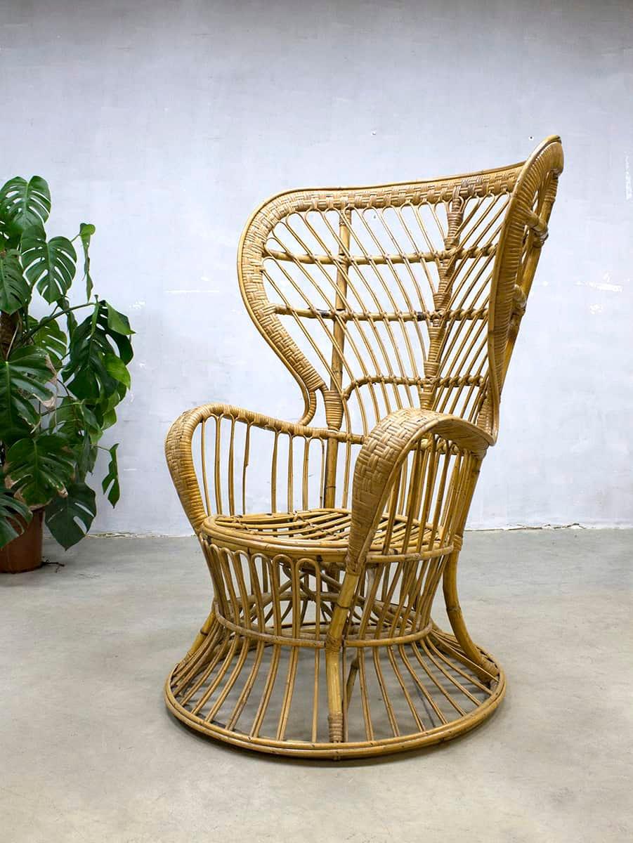 Vintage Peacock Rattan Chair By Lio Carminati For Bonacina