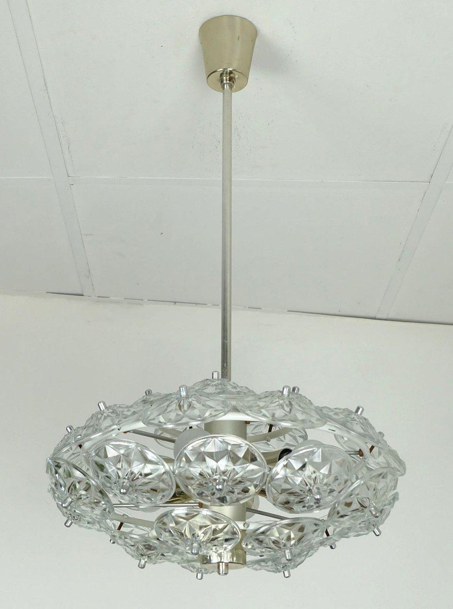Sputnik Lampe mit Facettierten Glasblumen, 1960er