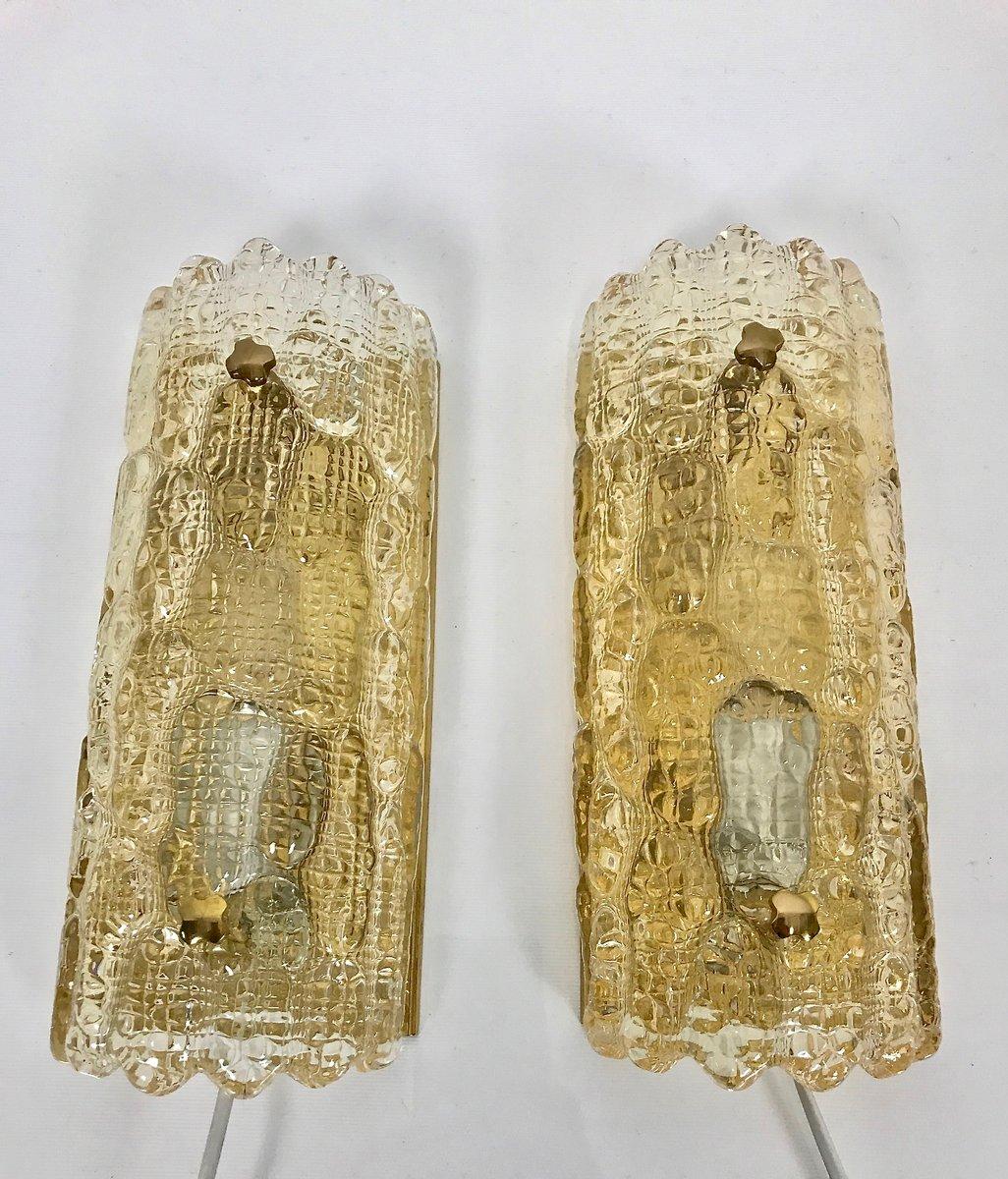 Skandinavische Glas Wandlampen von Carl Fagerlund für Orrefors, 1960er...