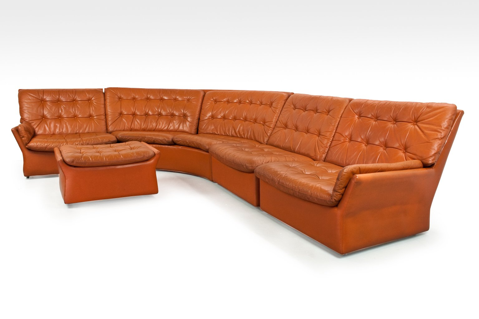 Mid Century Sectional Modular Camel Brown Coloured Leather Sofa 1960s