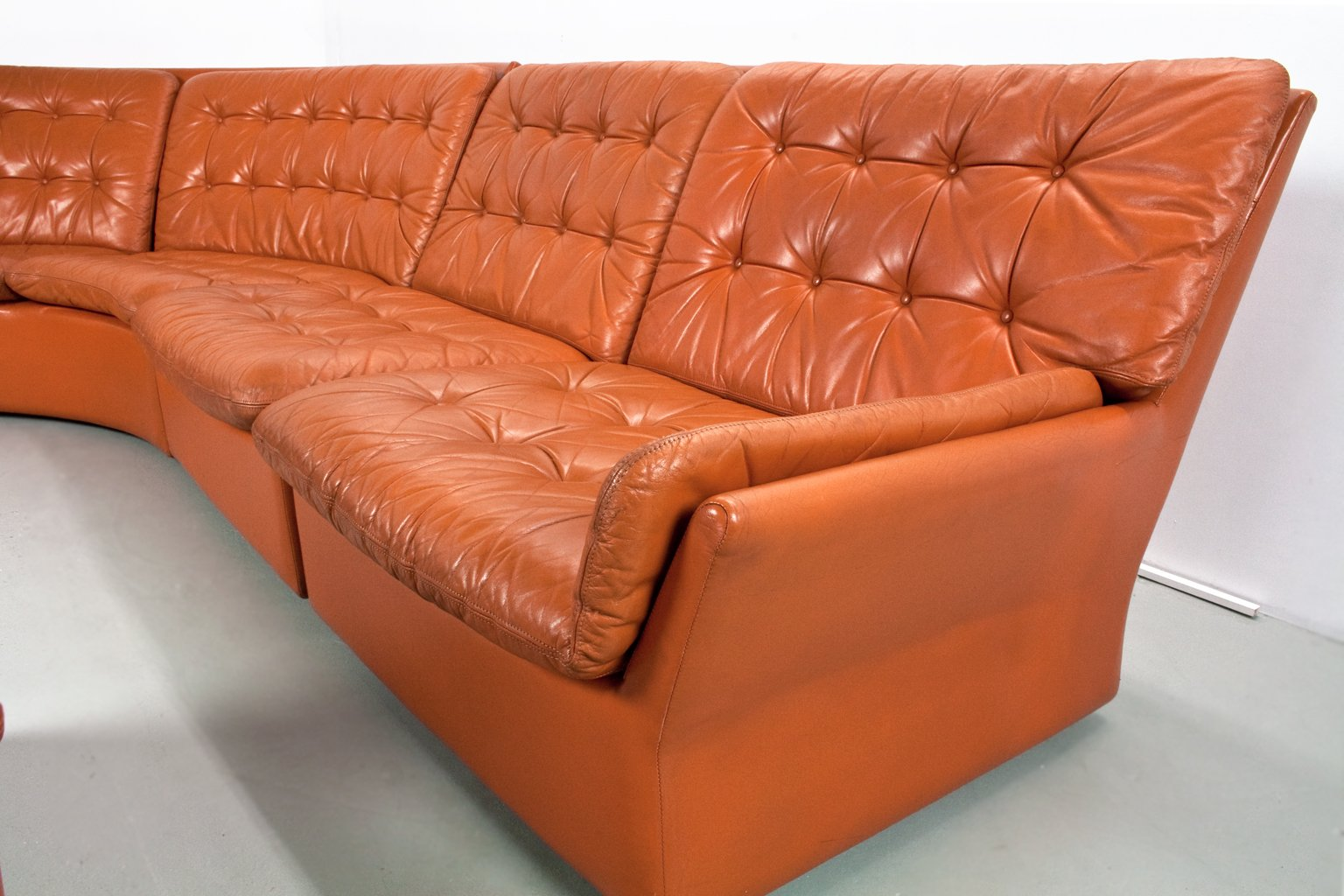 Mid Century Sectional Modular Camel Brown Coloured Leather