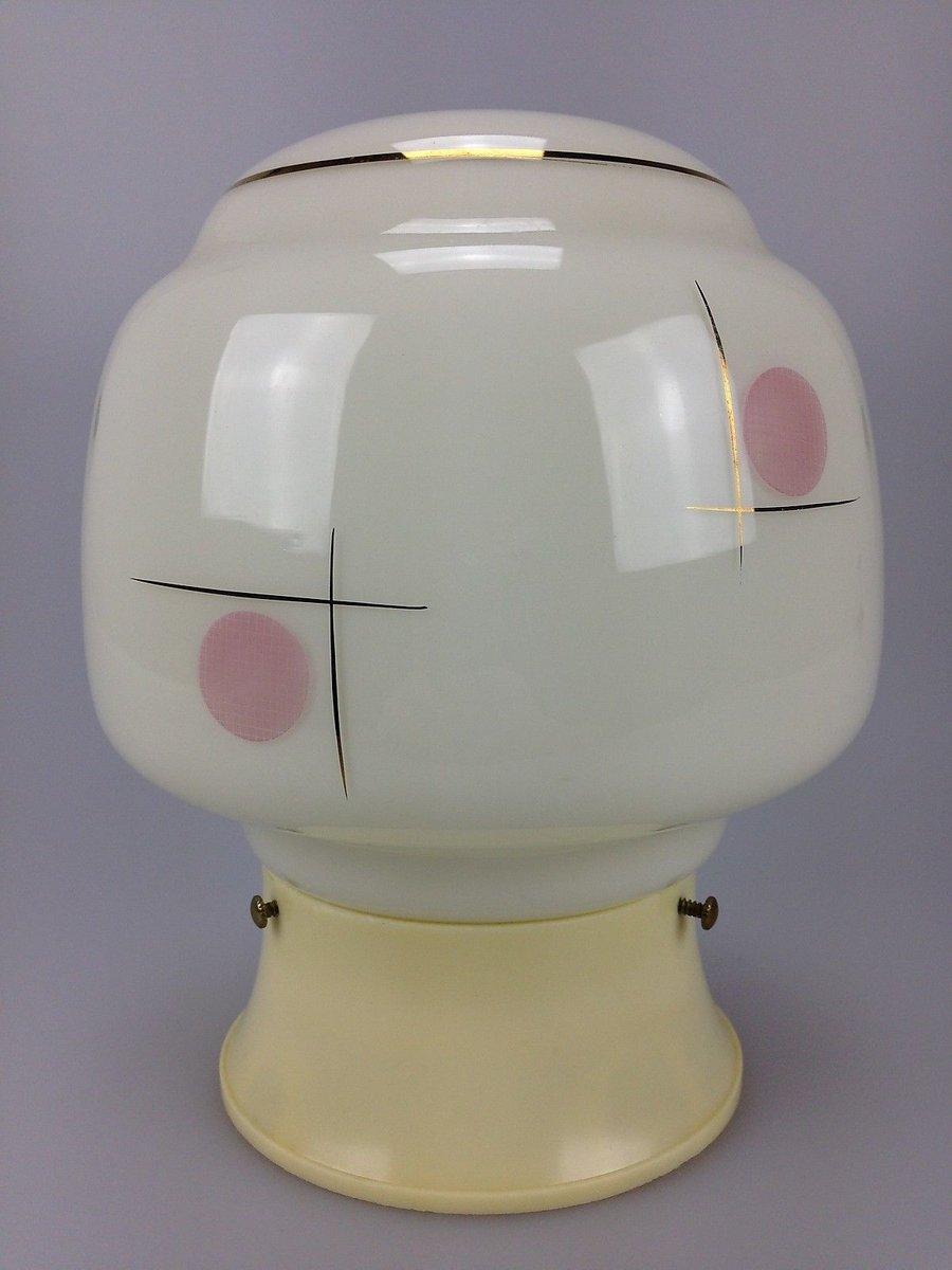 Mid-Century Glas & Plastik Deckenlampe von Erco, 1960er