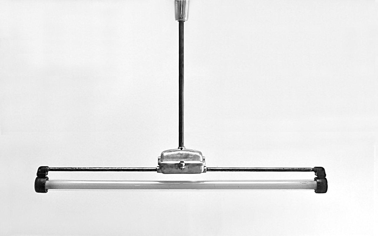 Industrielle Deckenlampe von Paul Mrosek, 1950er