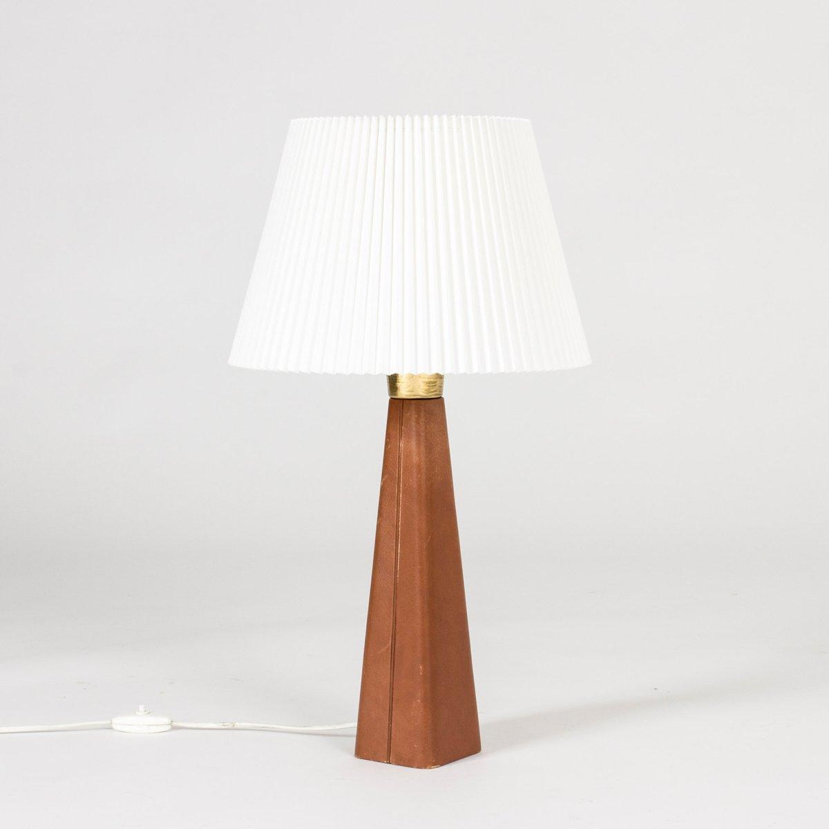 Leder Tischlampe von Lisa Johansson-Pape für Orno, 1950er
