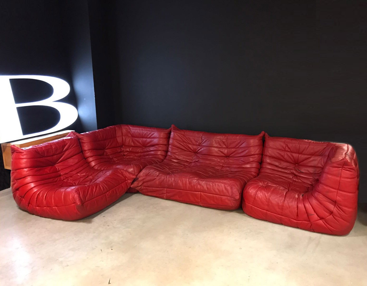 Red Leather Togo Modular Sofa By Michel Ducaroy For Ligne