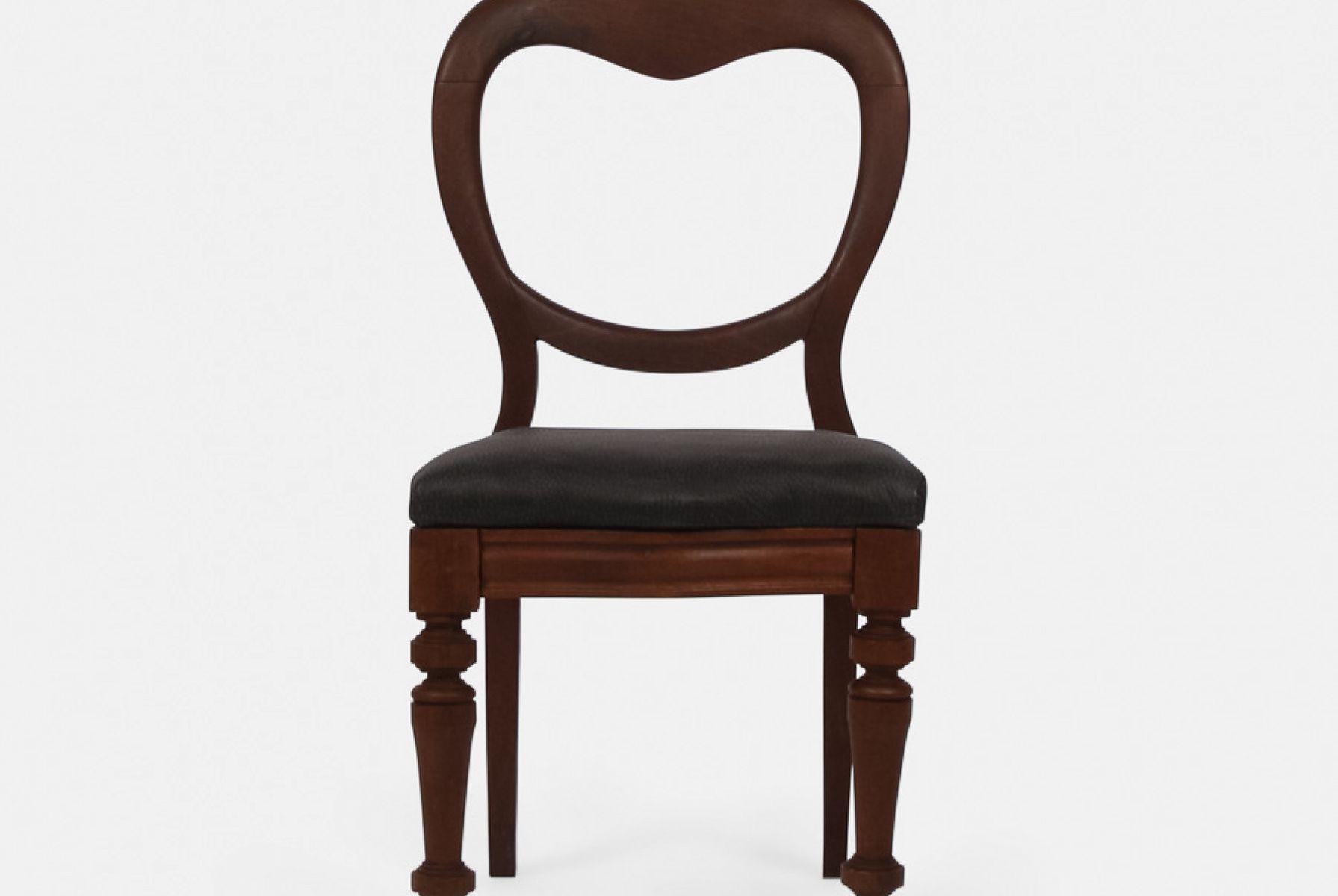 Sillas de comedor antiguas de caoba con asientos de cuero. Juego de ...