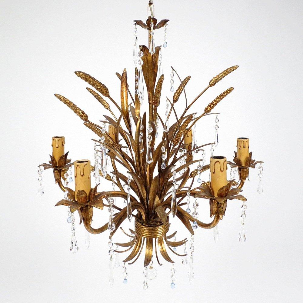 Vergoldeter Italienischer Kronleuchter aus Metall und Glas, 1960er