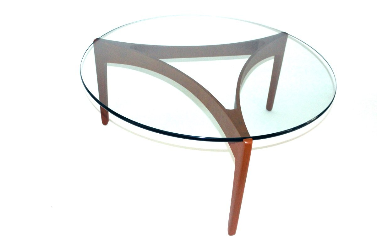 Mid-Century Teak Coffee Table with Glass Top by Sven ...