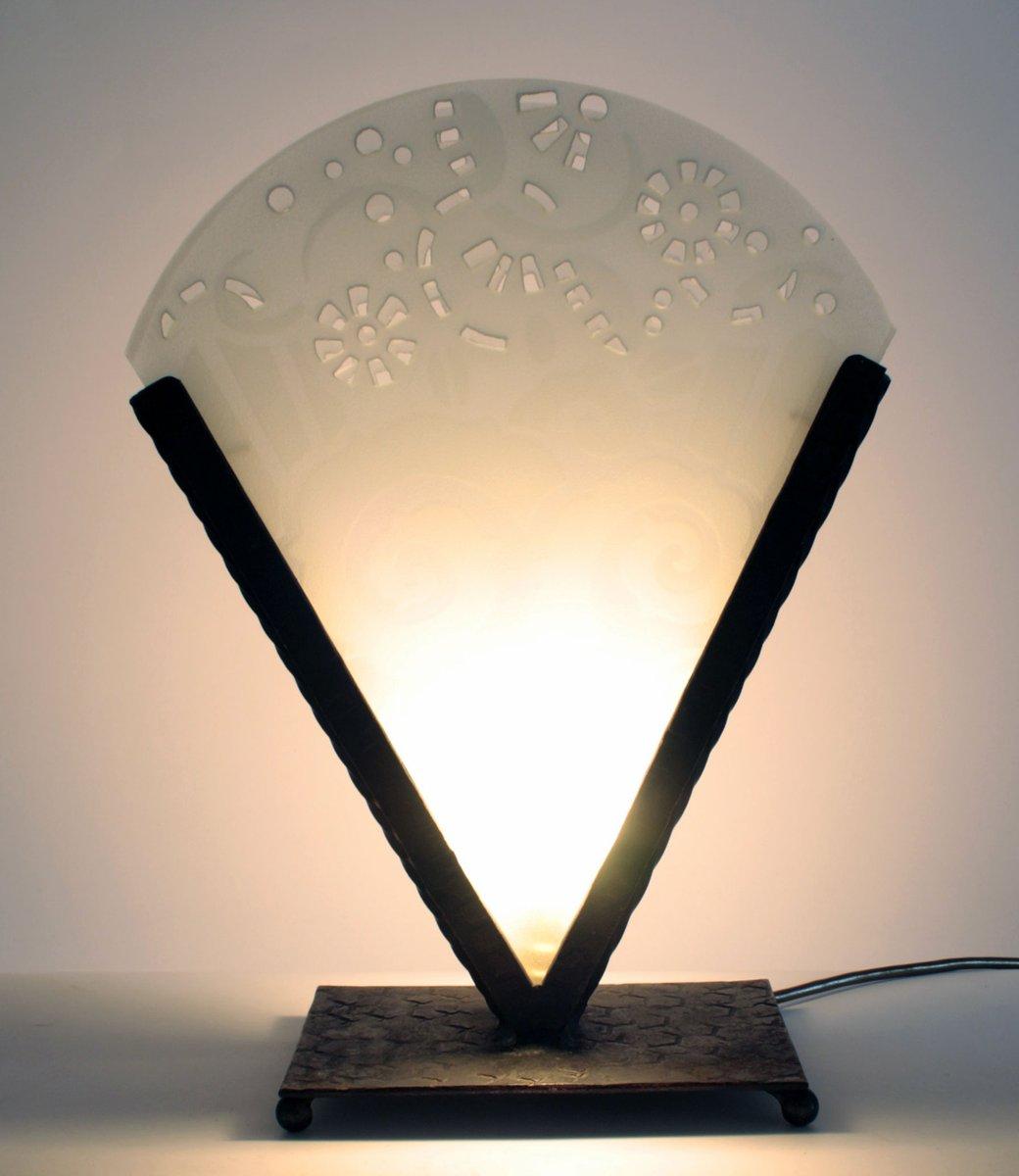 lampe de bureau art d co en fer forg et verre 1930s en vente sur pamono. Black Bedroom Furniture Sets. Home Design Ideas