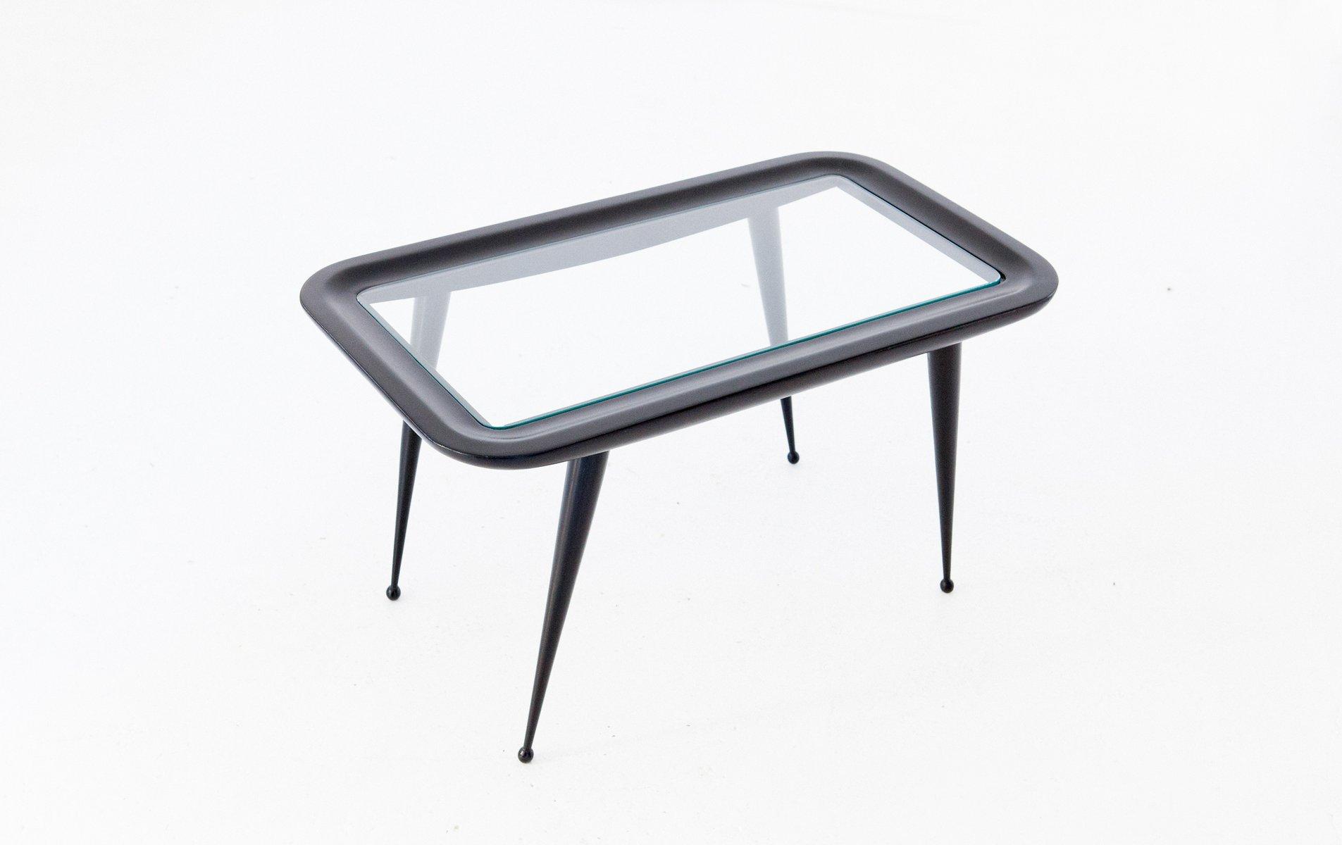 couchtisch aus lackiertem holz mit platte aus glas 1950er bei pamono kaufen. Black Bedroom Furniture Sets. Home Design Ideas