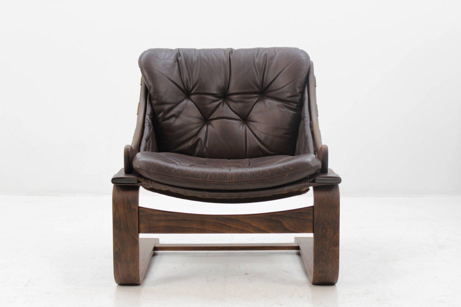Skandinavischer Sessel aus Bugholz und Leder von Ake Fribytter für Nel...