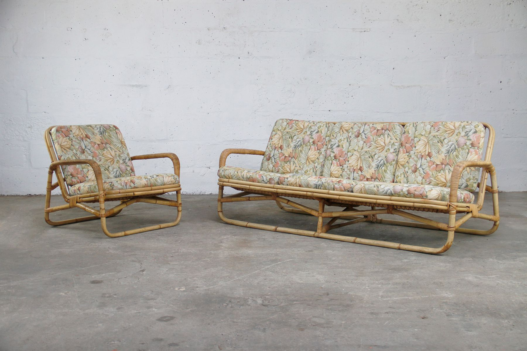 Vintage Bamboo Sofa And Chair Set For