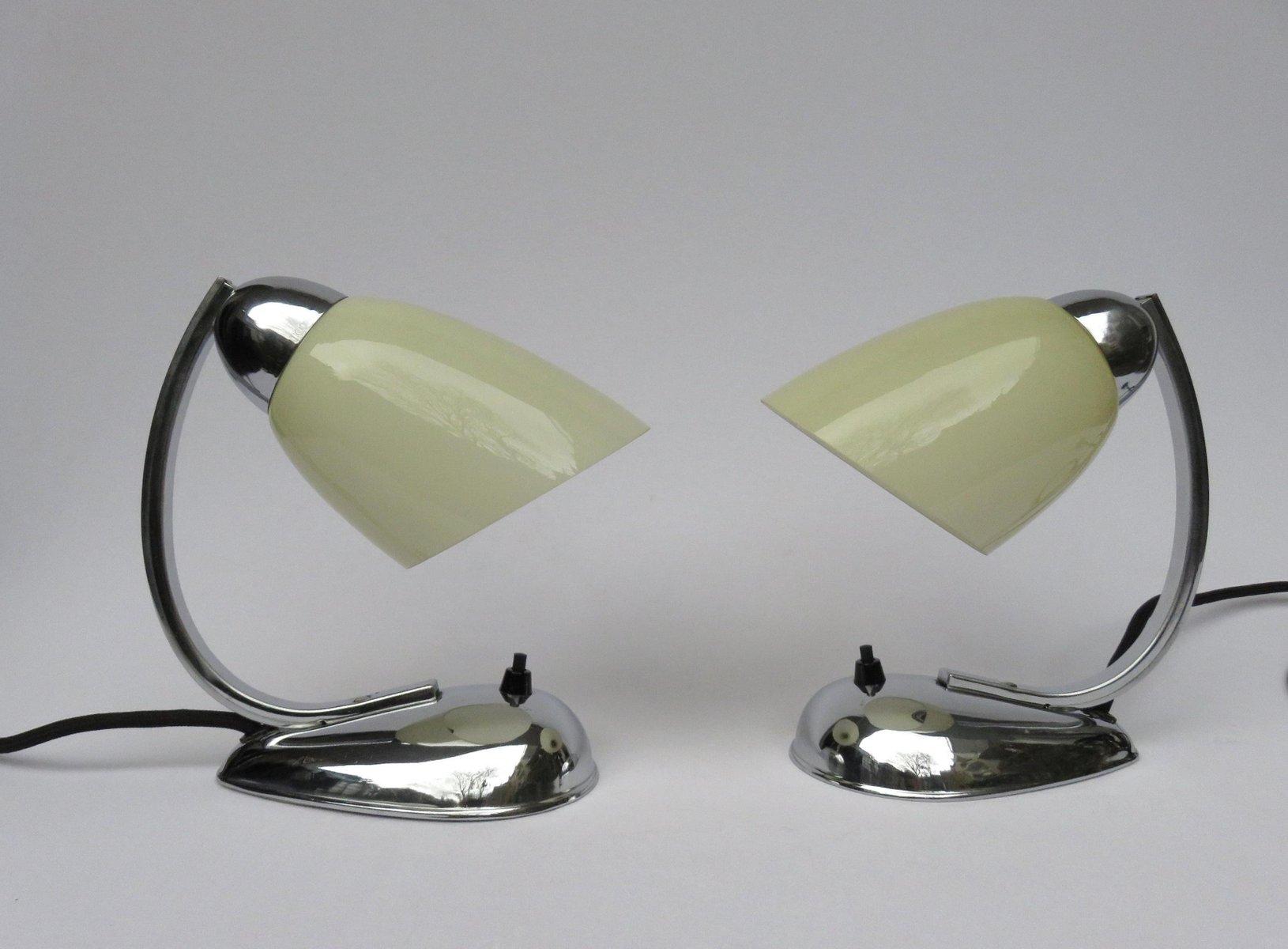 Tschechische Mid-Century Nachttischlampen aus Chrom von Napako, 1940er...