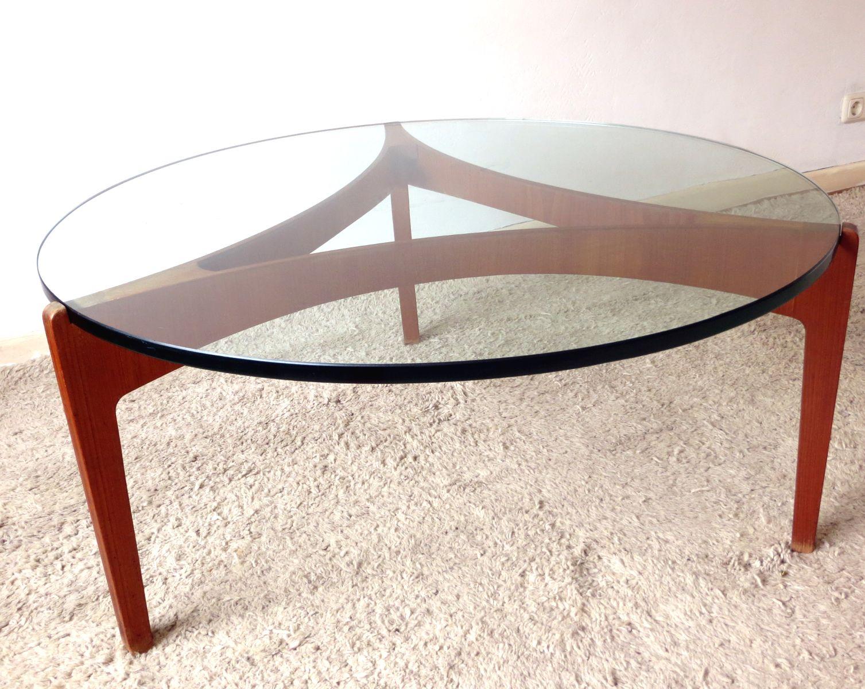 d nischer couchtisch aus teakholz mit dicker platte aus glas von sven ellekaer f r christian. Black Bedroom Furniture Sets. Home Design Ideas