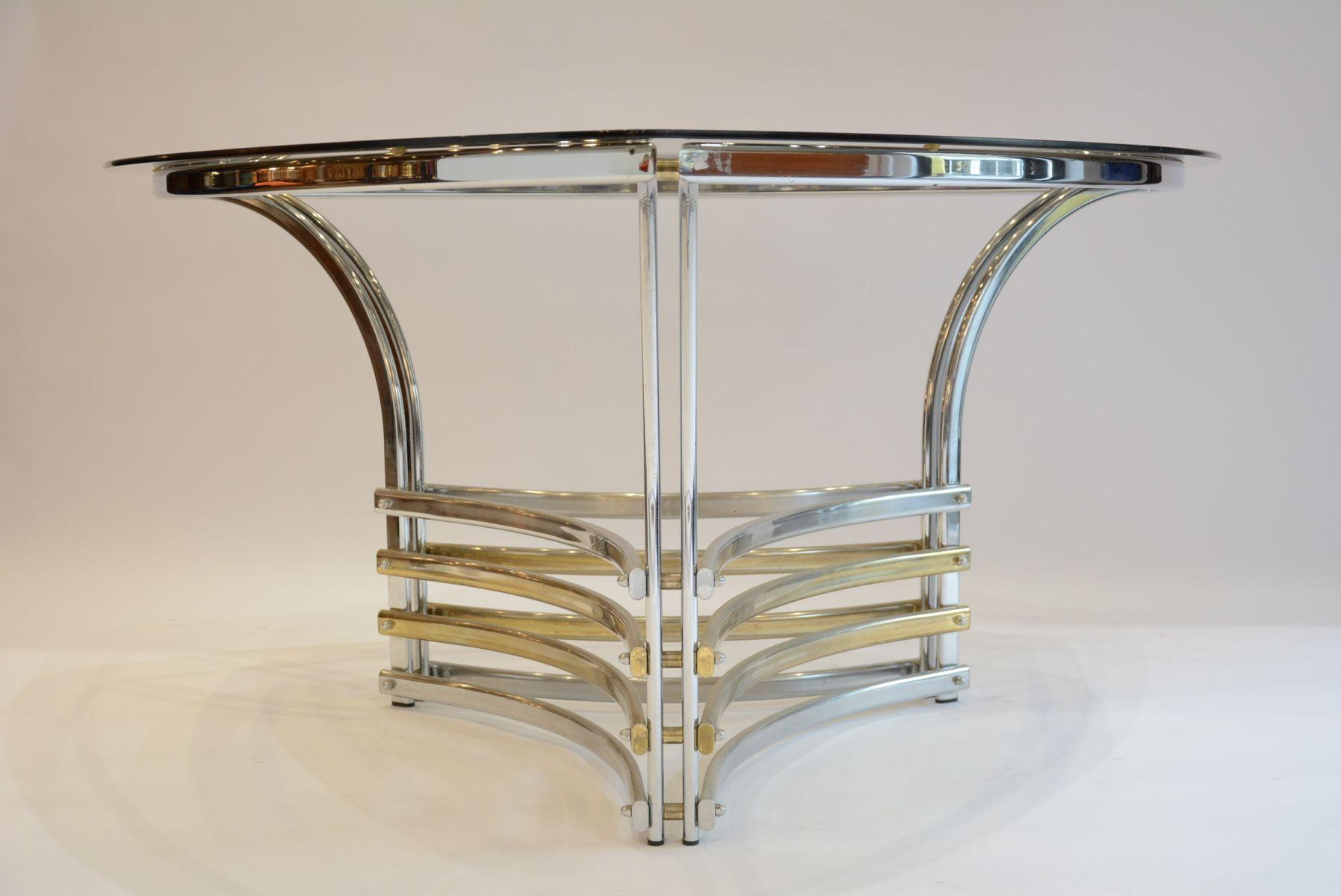 table en chrome verre fum italie 1970s en vente sur pamono. Black Bedroom Furniture Sets. Home Design Ideas