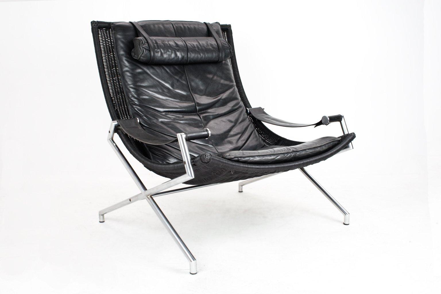 Sessel im Industriellen Stil aus Korbgeflecht und Schwarzem Kunstlede...
