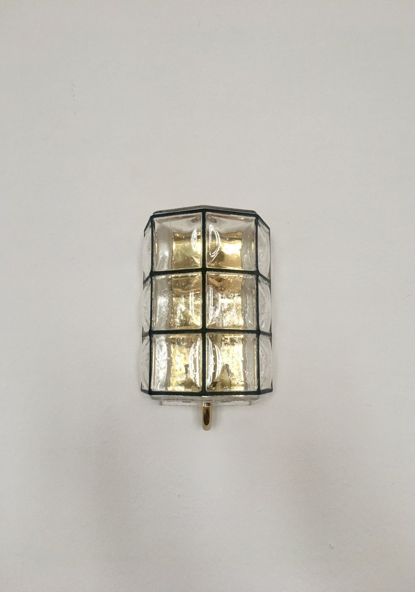 Wandlampe aus Messing von Glashütte Limburg, 1960er