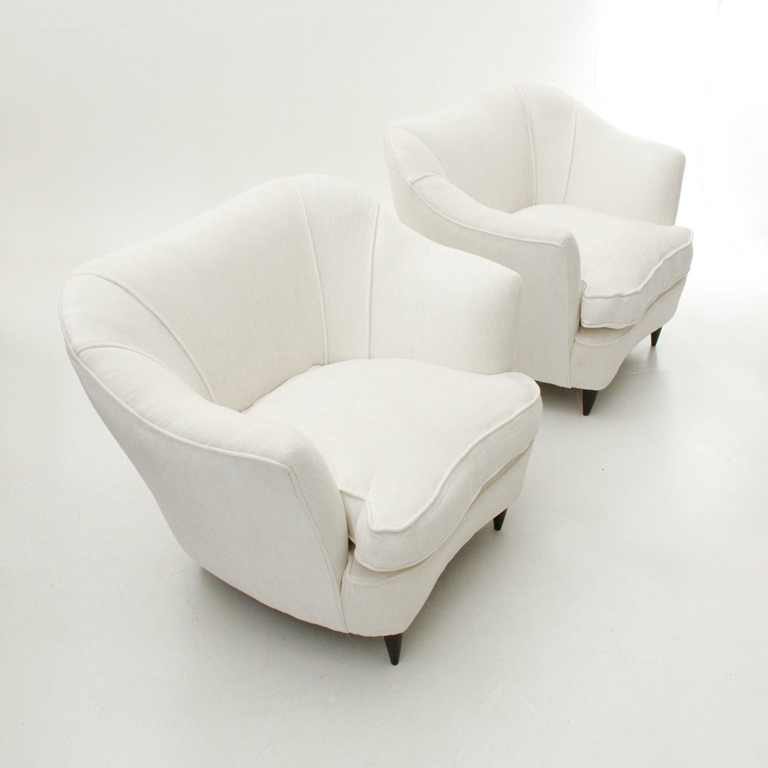 White Velvet Lounge Chairs 1950s Set Of 2 For Sale At Pamono