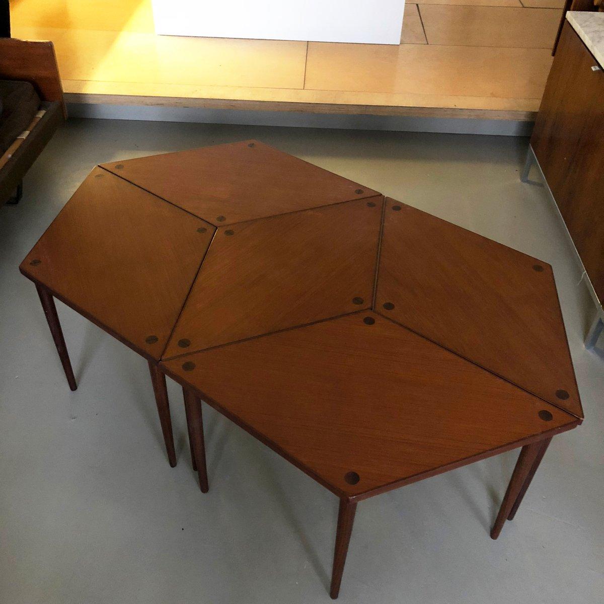 Modulare Norwegische Tische aus Teakholz von Aase Mobler, 1961, 5er Se...