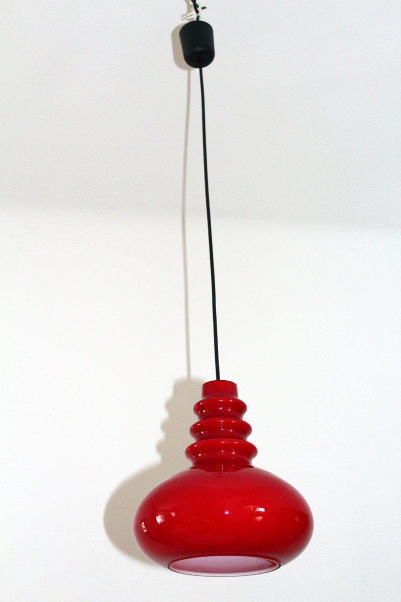 Lampada Da Soffitto Vintage In Vetro Rosso Di Peill