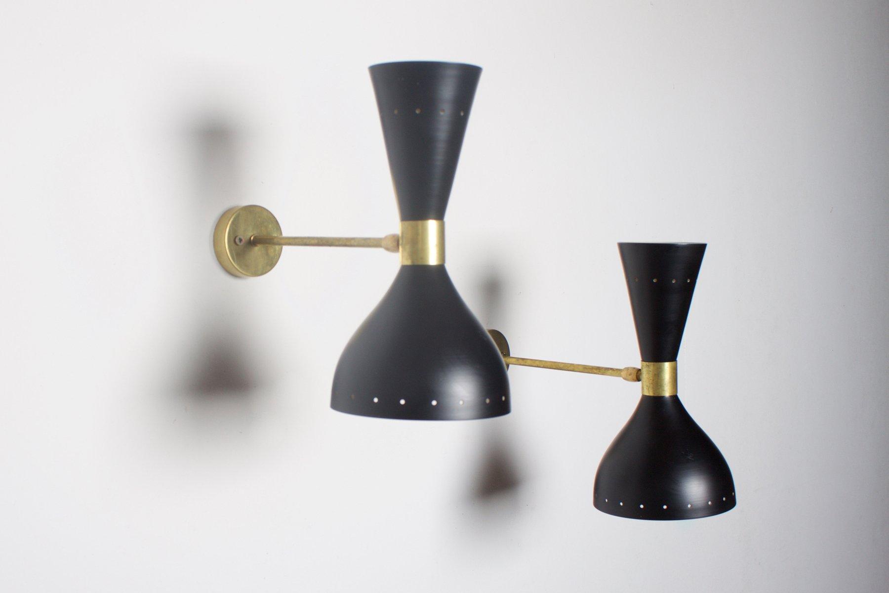Schwarze Italienische Vintage Diabolo Wandlampe