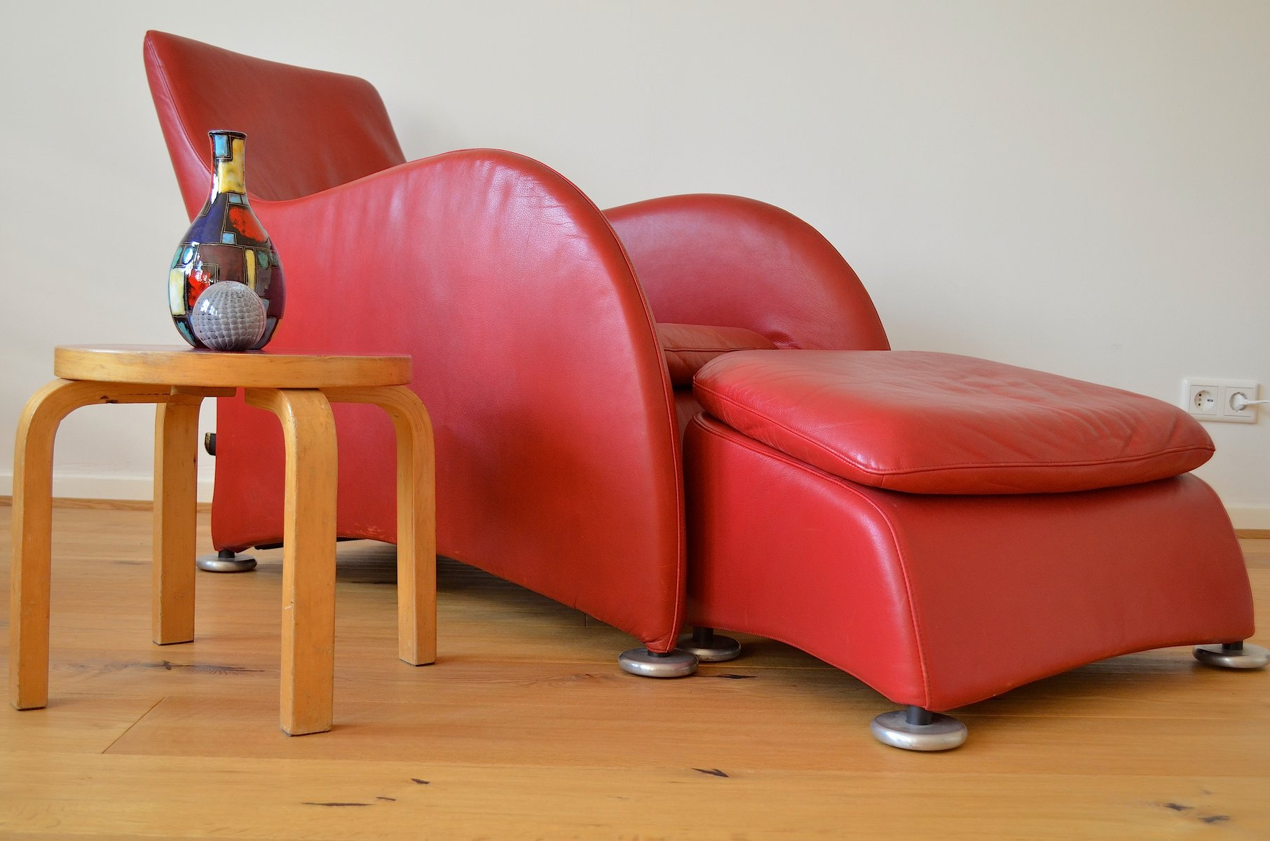 Leather Loge Lounge Chair With Ottoman By Gerard Van Den