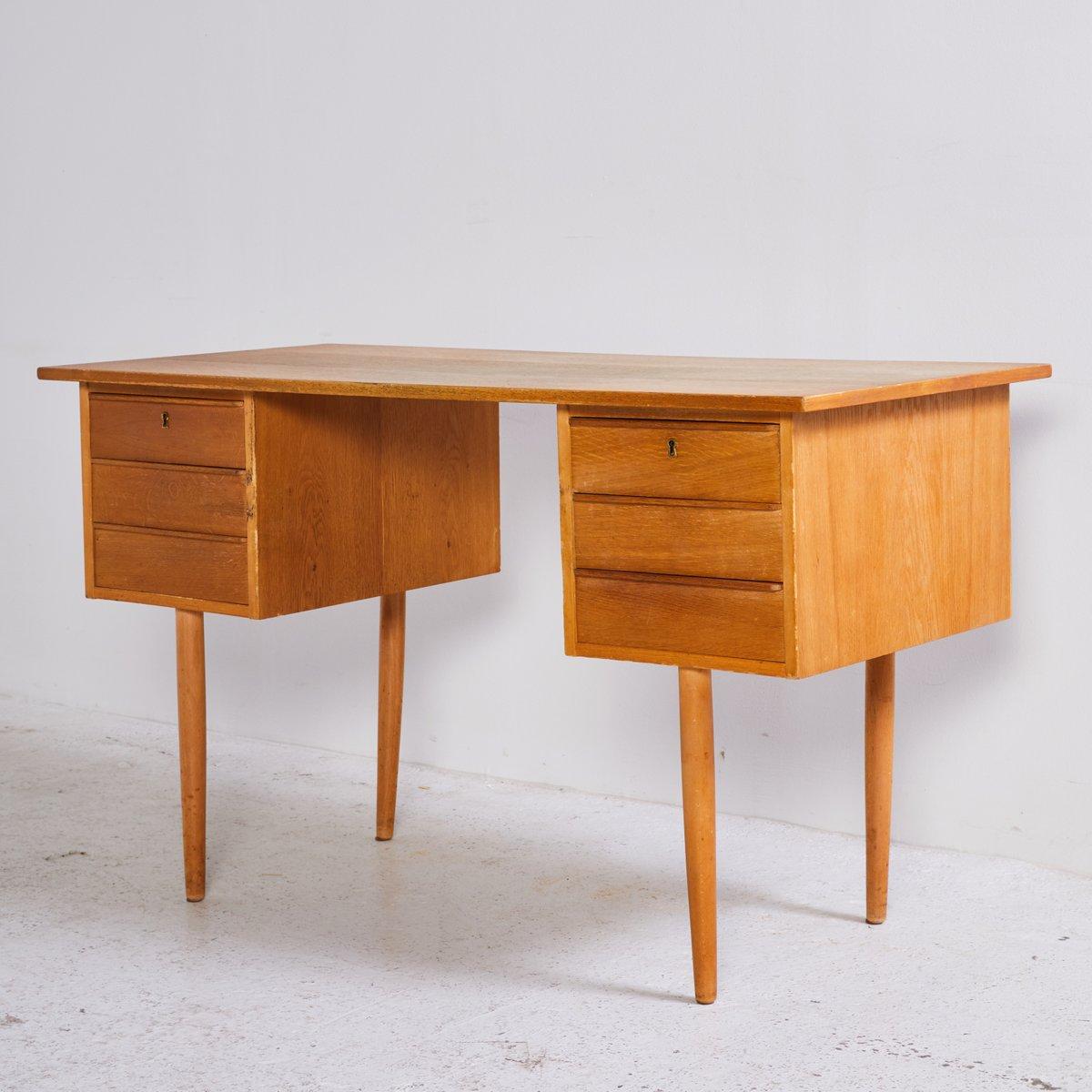 oak desk with 6 drawers 1960s for sale at pamono. Black Bedroom Furniture Sets. Home Design Ideas