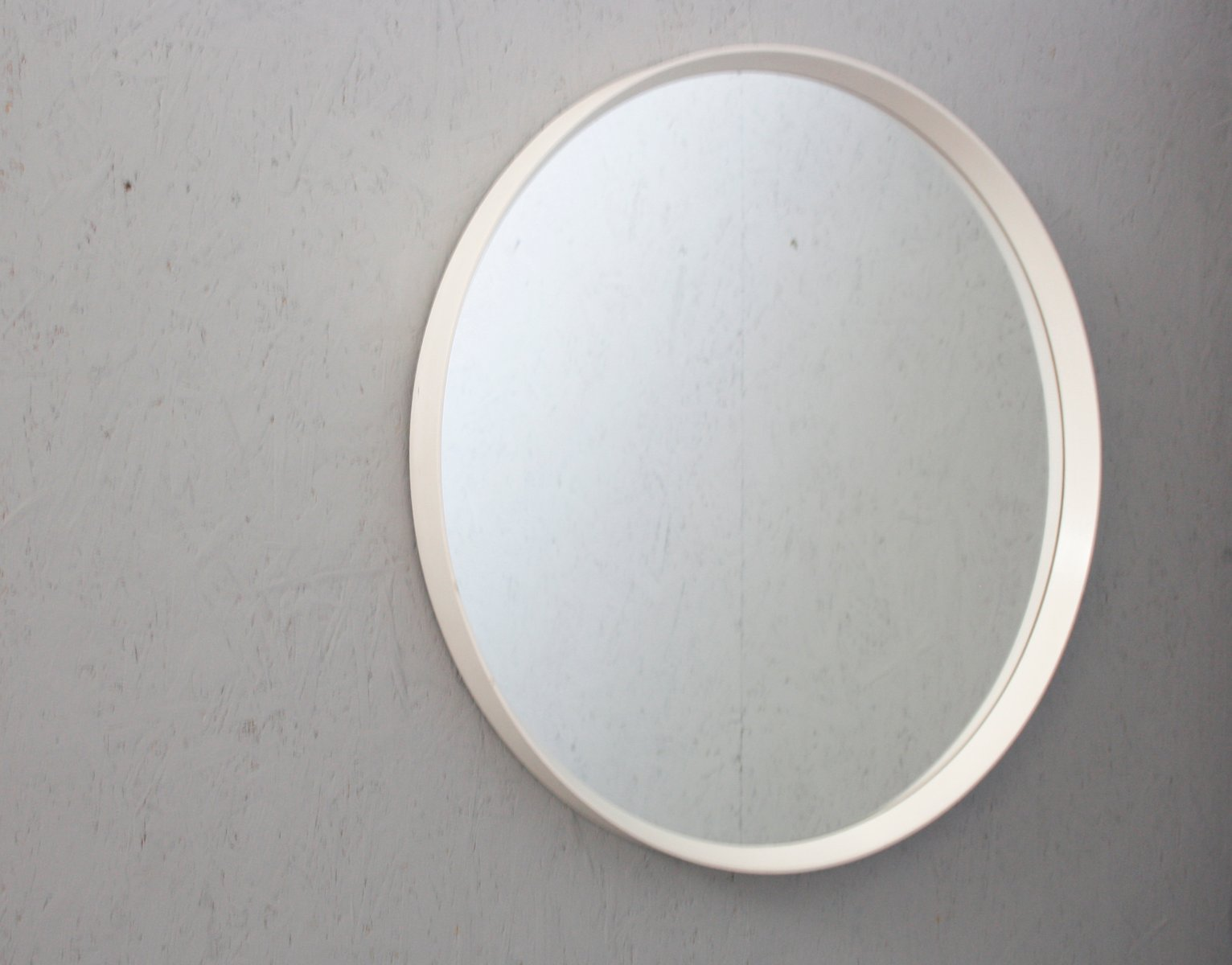 Mid-Century Round Mirror with White Frame for sale at Pamono