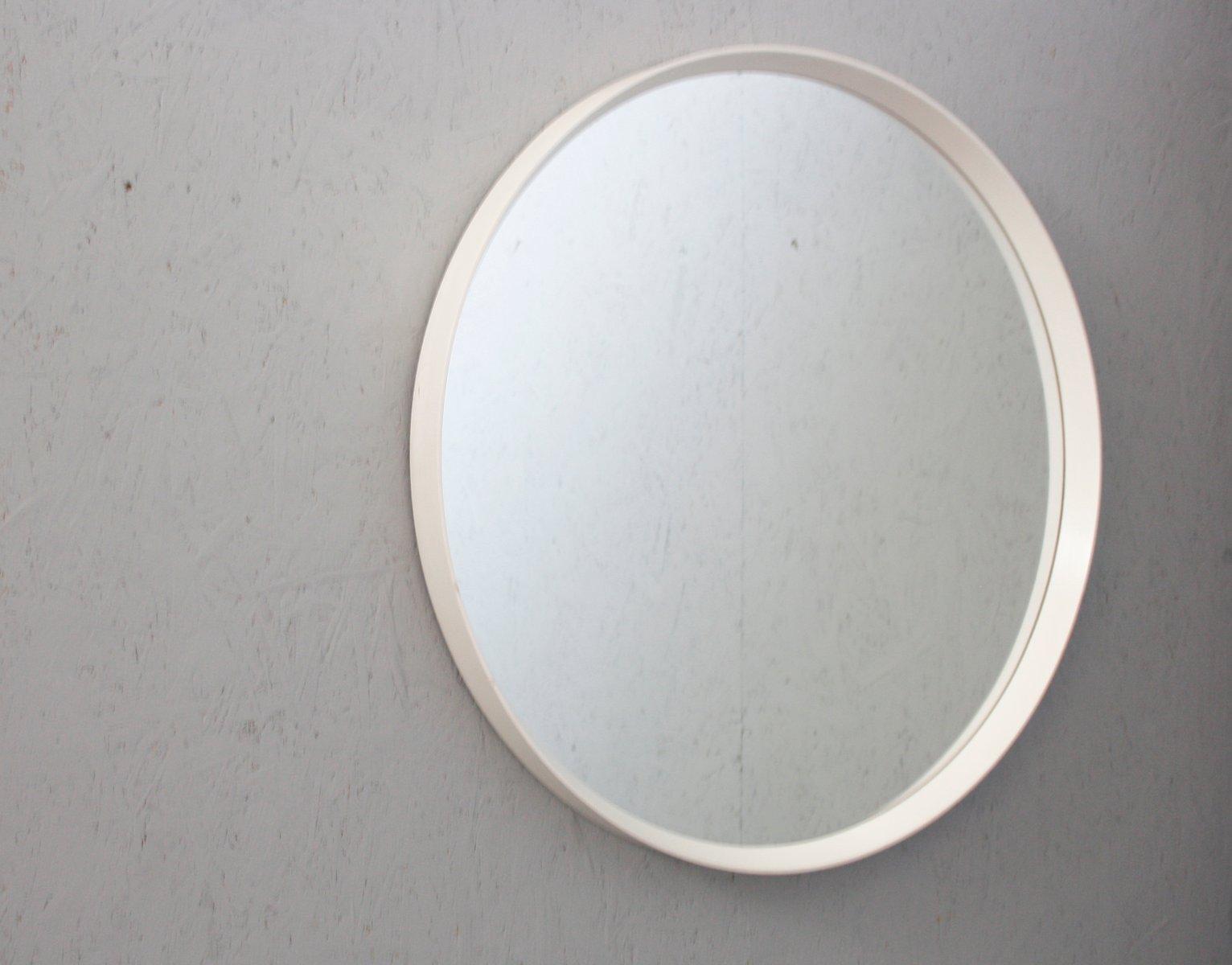 Specchio Mid-Century rotondo con cornice bianca in vendita su Pamono