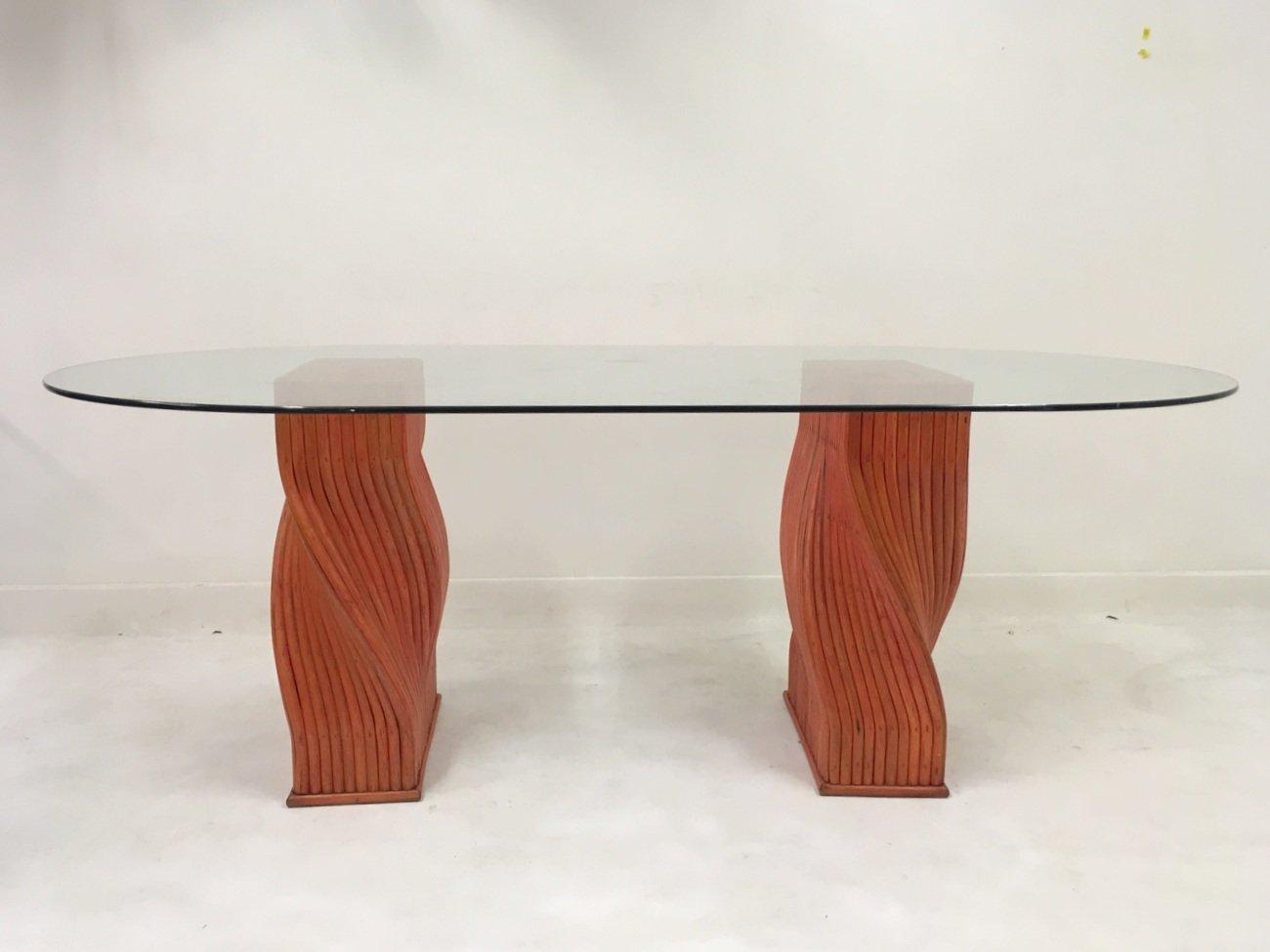 Roter Vintage Bambus Esstisch Mit Glasplatte Von Mcguire