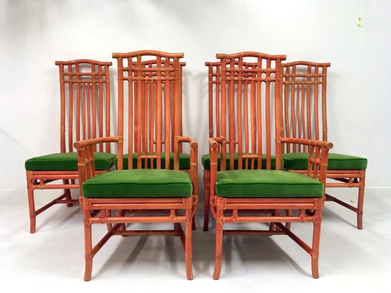 Sedie Vintage Colorate : Sedie da pranzo vintage in bambù e velluto verde di mcguire set