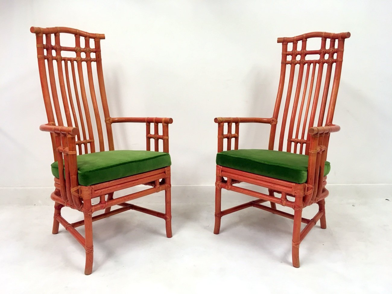 Vintage Red Bamboo And Green Velvet Dining Chairs From