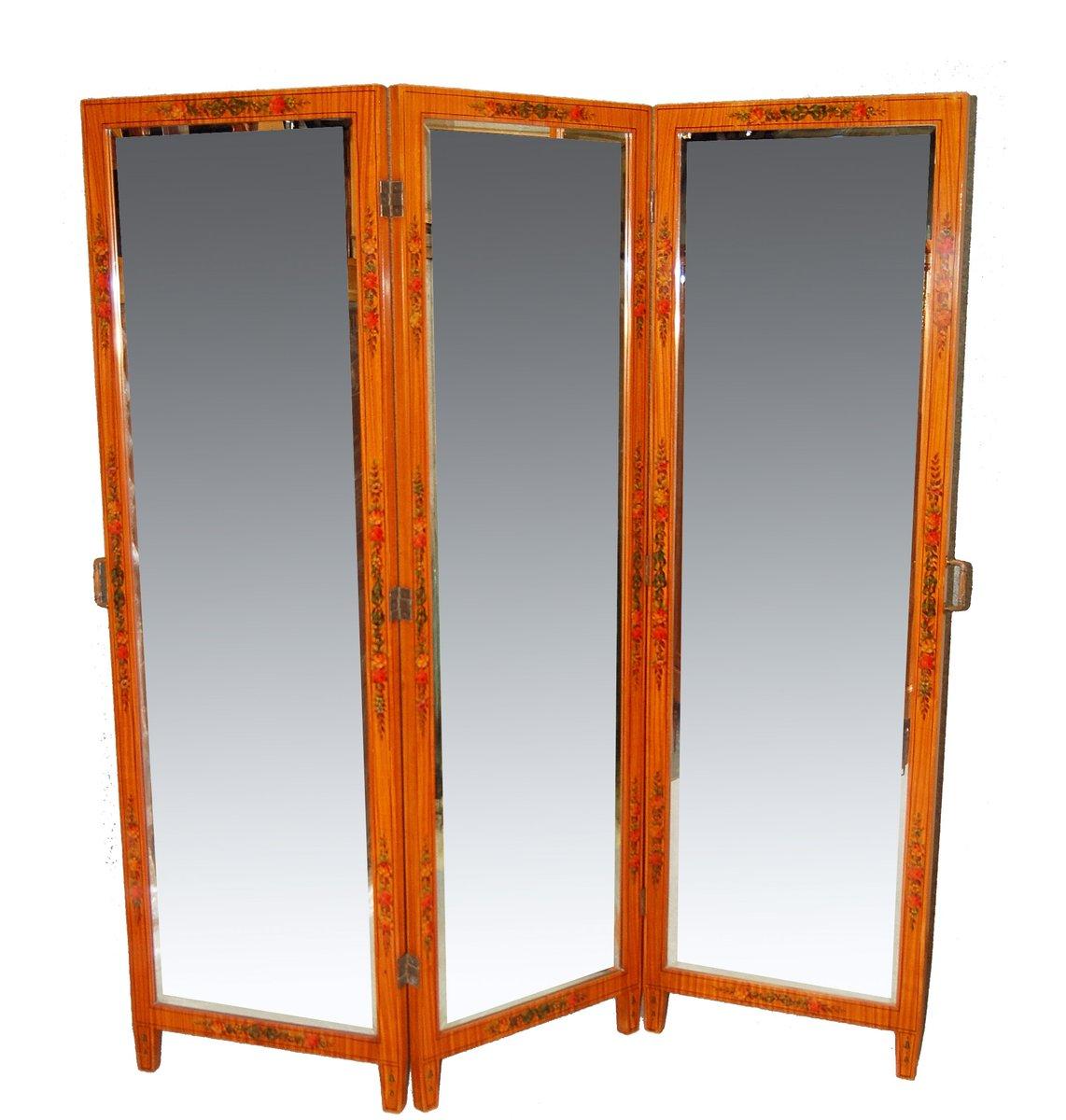 antiker raumteiler mit spiegel und mehrfarbigen verzierungen bei pamono kaufen. Black Bedroom Furniture Sets. Home Design Ideas