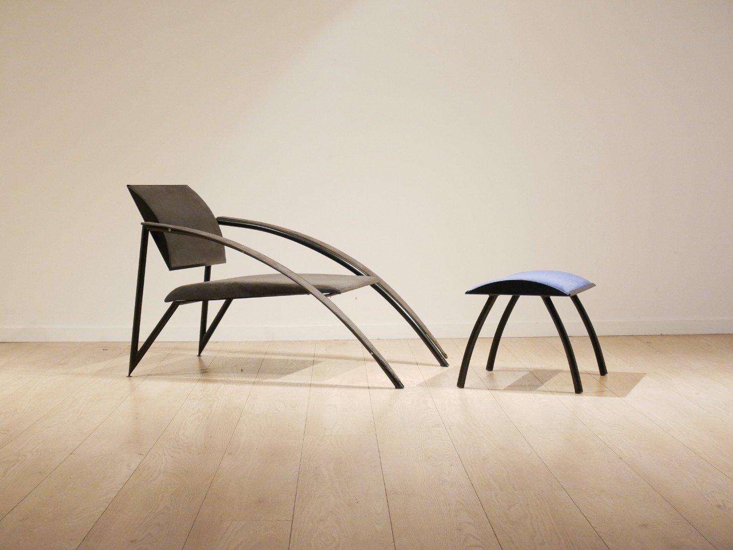 Französischer Vintage Sessel mit Ottomane von Jean Louis Godivier für ...