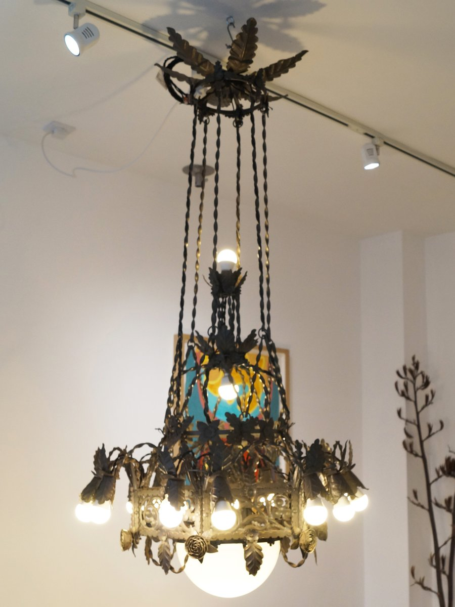 Large vintage gothic revival wrought iron chandelier for sale at pamono large vintage gothic revival wrought iron chandelier aloadofball Choice Image