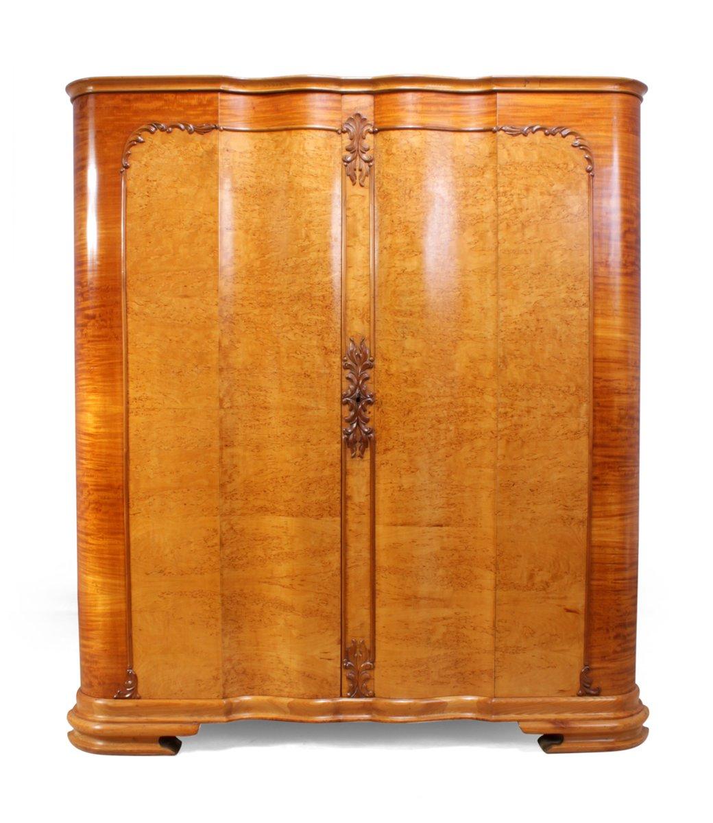 italienischer art deco w scheschrank aus karelischer birke 1920er bei pamono kaufen. Black Bedroom Furniture Sets. Home Design Ideas