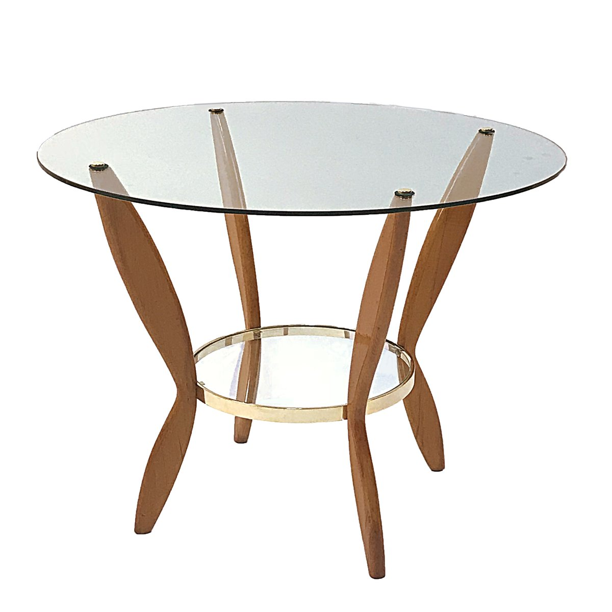 Italian Beech, Brass & Glass Coffee Table, 1950s For Sale