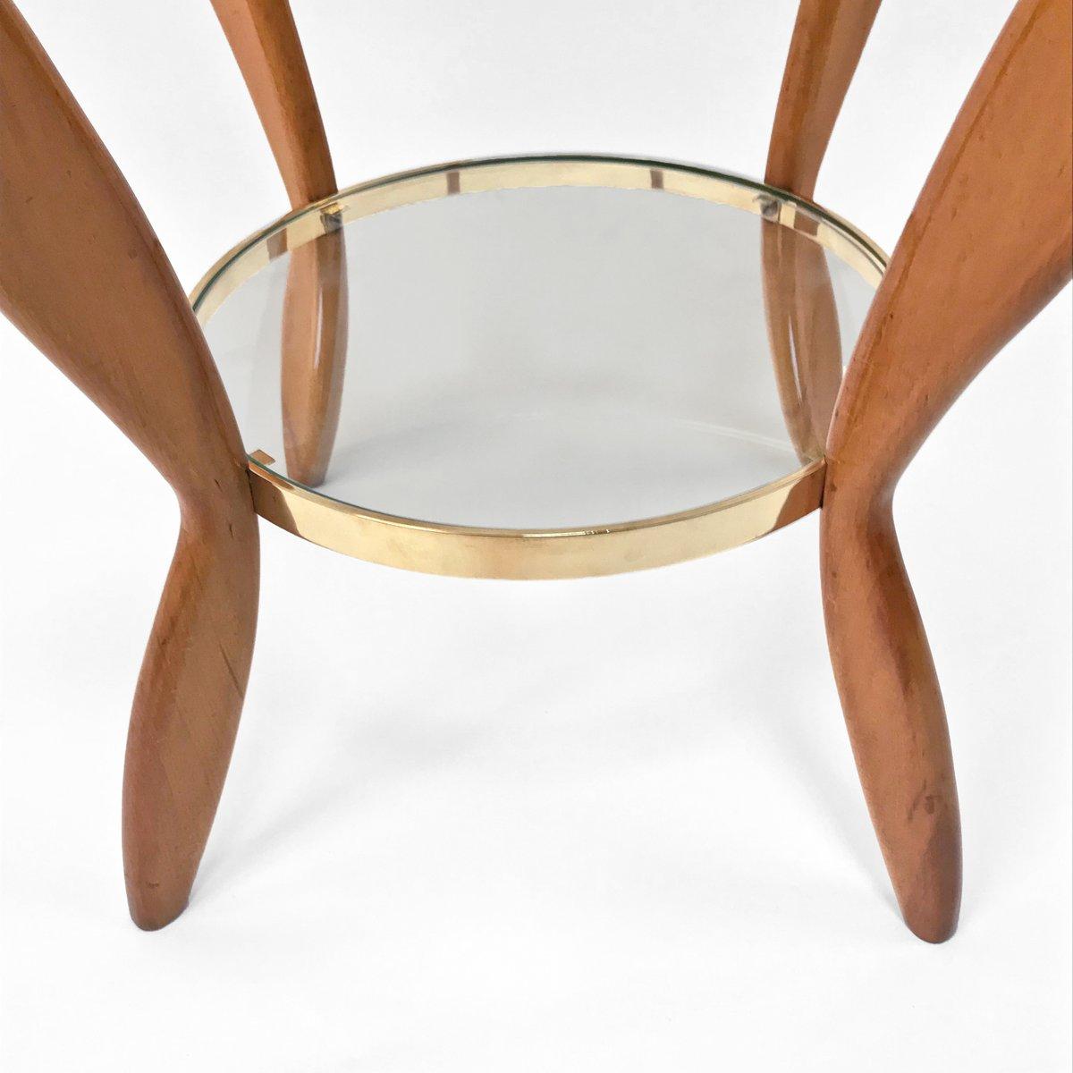 Beech Wood Coffee Table: Italian Beech, Brass & Glass Coffee Table, 1950s For Sale