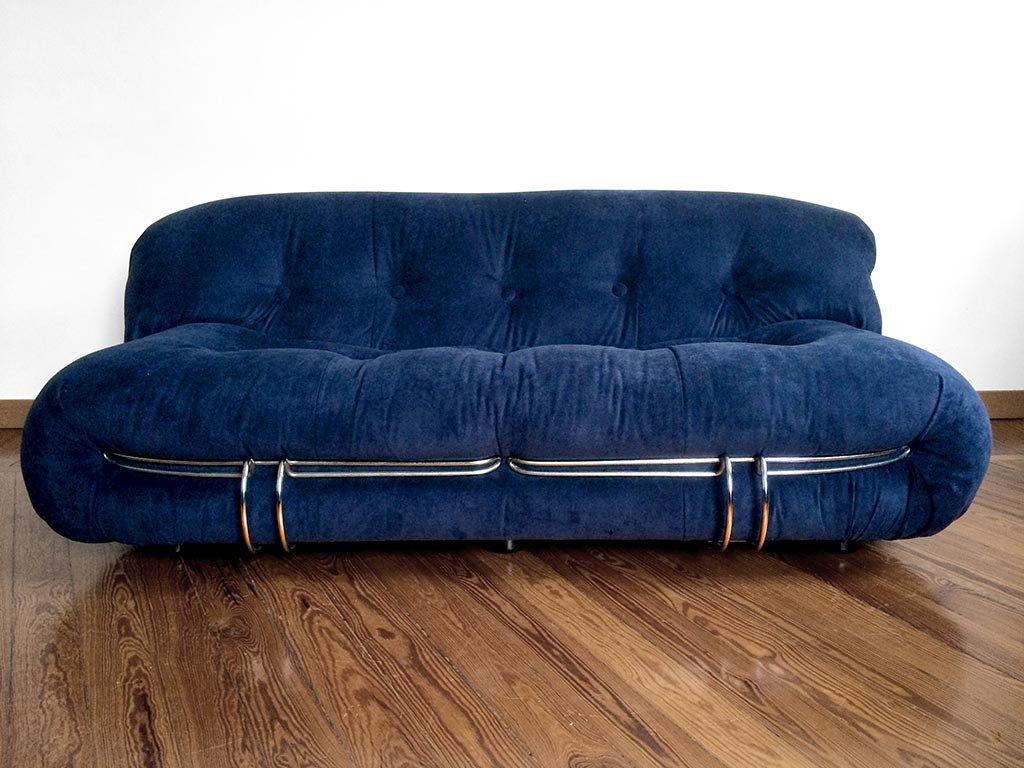 Divano soriana in velluto blu di afra e tobia scarpa per cassina anni 39 60 in vendita su pamono - Divano velluto blu ...