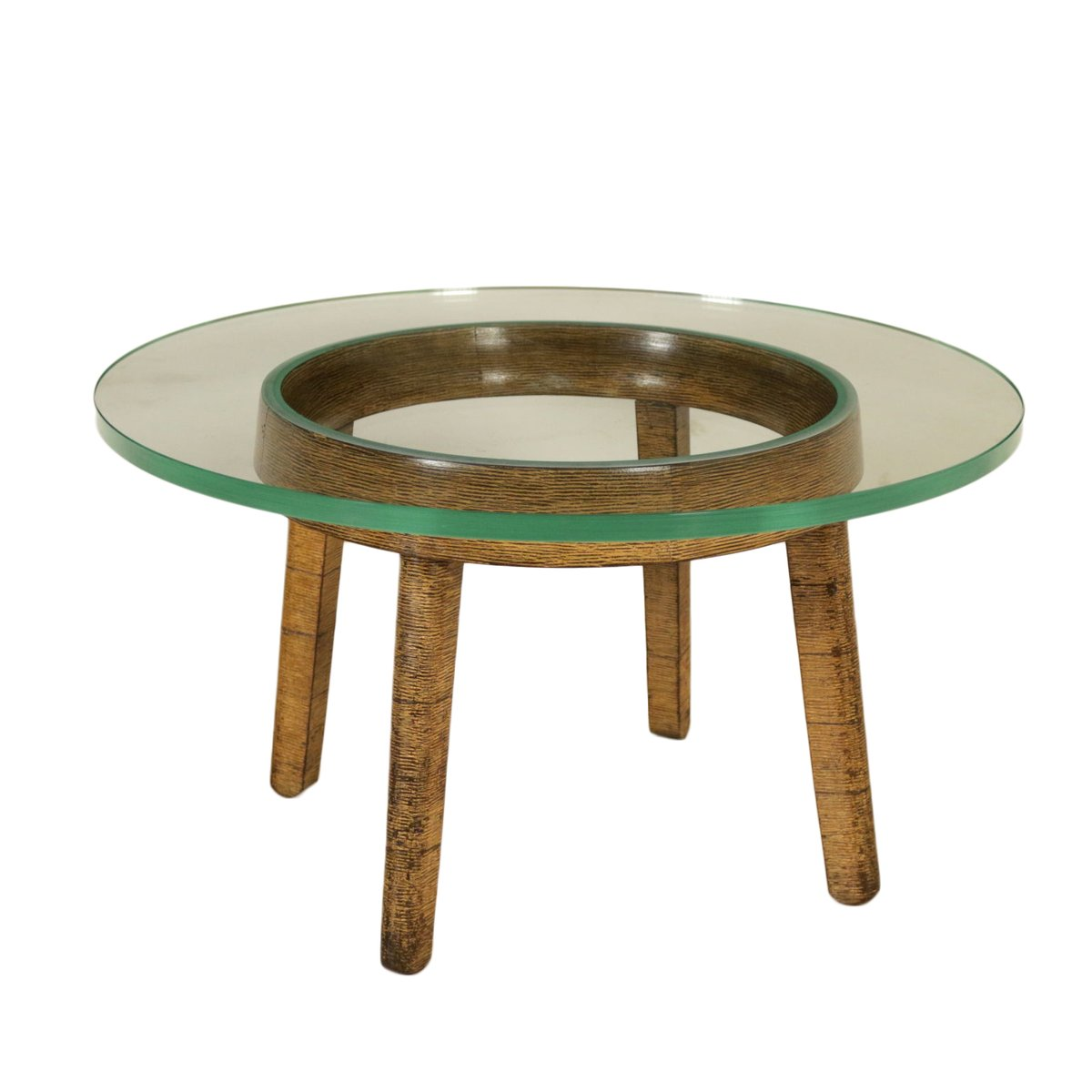 Vintage Coffee Table In Decorative Wood & Glass For Sale