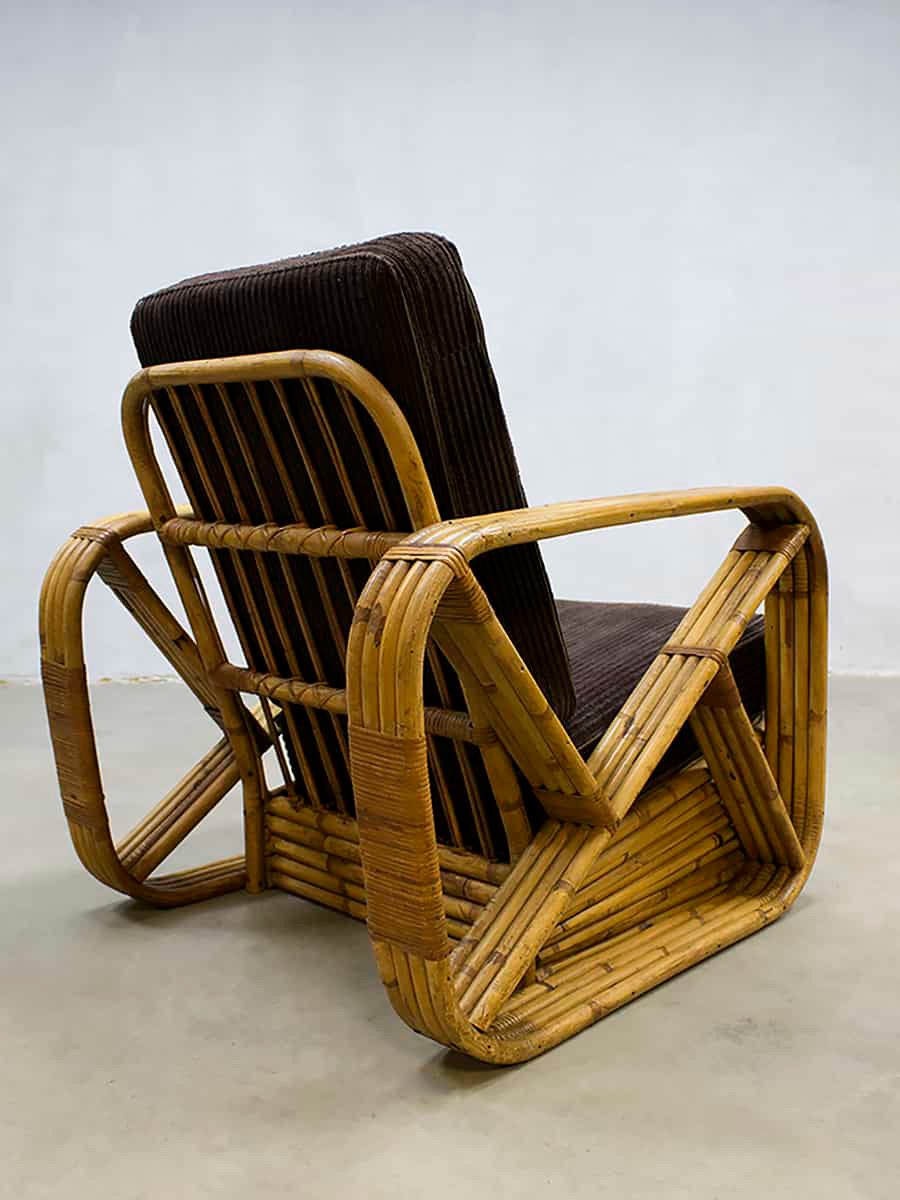 Vintage Rattan Lounge Chair By Paul Frankl 1940s For Sale